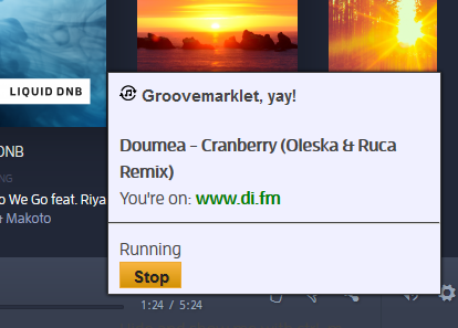 A picture showing groovemarklet working with digitally imported.fm